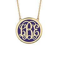 Enamel Script Monogram Disc Necklace in Gold