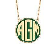 Enamel Block Large Disc Monogram in Gold