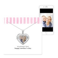 Mother's Day Silver Framed Heart Color Photo Pendant