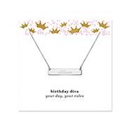 Birthday Diva Engravable Silver Name Bar Necklace