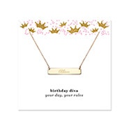 Birthday Diva Engravable Gold Name Bar Necklace