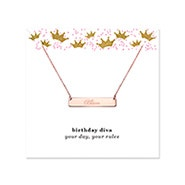 Birthday Diva Engravable Rose Gold Name Bar Necklace