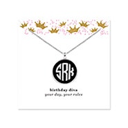 Birthday Acrylic Monogram Silver Bezel Necklace