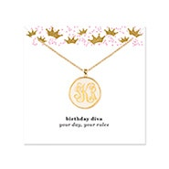 Birthday Acrylic Monogram Gold Bezel Necklace