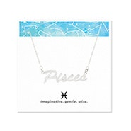 Pisces Zodiac Silver Nameplate Necklace