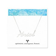 Aries Zodiac Silver Nameplate Necklace