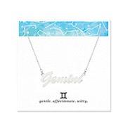 Gemini Zodiac Silver Nameplate Necklace