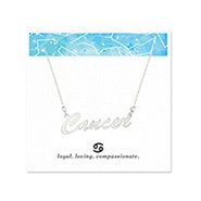 Cancer Zodiac Silver Nameplate Necklace