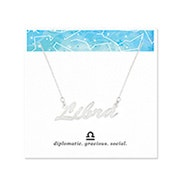 Libra Zodiac Silver Nameplate Necklace