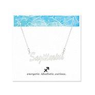 Sagittarius Zodiac Silver Nameplate Necklace