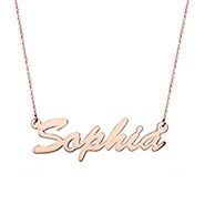 14K Rose Gold Thin Script Nameplate Necklace