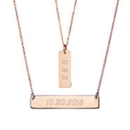 Layered Rose Gold Name Bar Necklace