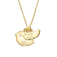 Custom Mom and Three Baby Birds Gold Necklace
