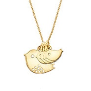 Custom Mom and Four Baby Birds Gold Necklace