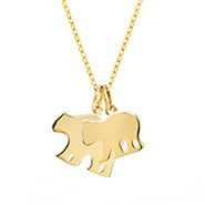 Custom Mama and Baby Bear Gold Necklace