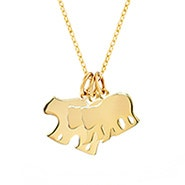 Custom Mama and Two Baby Bears Gold Necklace
