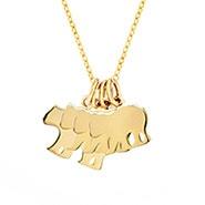 Custom Mama and Three Baby Bears Gold Necklace