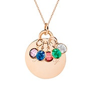 Custom Birthstone Mother's Rose Gold Round Tag Necklace