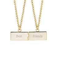 Best Friends Engravable Split Name Bar Gold Necklace