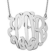 14K Solid White Gold Monogram