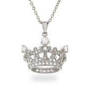 Silver CZ Crown Pendant
