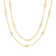 "Designer Style Gold 60"" CZ Studded Chain Necklace"