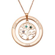 3 Stone Engraved Rose Gold Plated Birthstone Family Tree Necklace