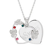 4 Stone Heart Butterfly Necklace
