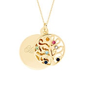 Engravable 7 Birthstone Gold Family Tree Necklace