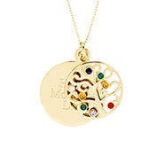 Engravable 8 Stone Gold Plated Birthstone Family Tree Pendant