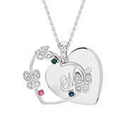 3 Stone Engravable Butterfly Necklace