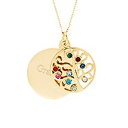 Engravable 9 Stone Gold Plated Birthstone Family Tree Pendant