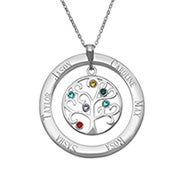 6 Stone Engraved Birthstone Family Tree Necklace