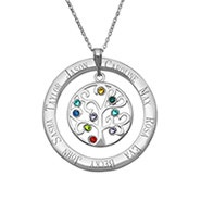 9 Stone Personalized Birthstone Family Tree Necklace