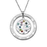 10 Stone Personalized Birthstone Family Tree Necklace