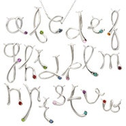 Custom Sterling Silver Birthstone Initial Necklace