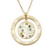8 Stone Engraved Gold Plated Birthstone Family Tree Pendant