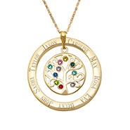 10 Stone Engraved Gold Plated Birthstone Family Tree Pendant