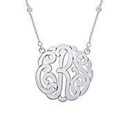 CZ Studded Chain Sterling Silver Monogram Necklace