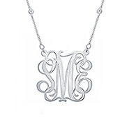 CZ Studded Chain Script Silver Monogram Necklace