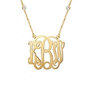 Script Gold Monogram CZ Studded Chain Necklace