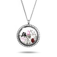 CZ Round Build A Charm Floating Locket
