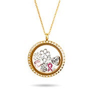 Gold CZ Round Build A Charm Floating Locket