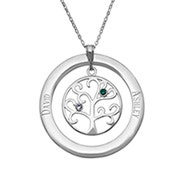 2 Stone Personalized Birthstone Family Tree Pendant