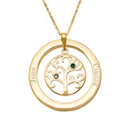 2 Stone Engraved Gold Birthstone Family Tree Pendant
