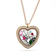 Gold CZ Heart Build A Charm Floating Locket