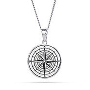 Engravable Compass Pendant with Crystal
