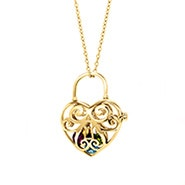 Key To My Heart Cage Birthstone Gold Locket
