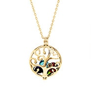 Gold Family Tree Birthstone Locket