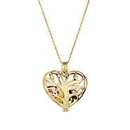 Heart Family Tree Gold Birthstone Locket